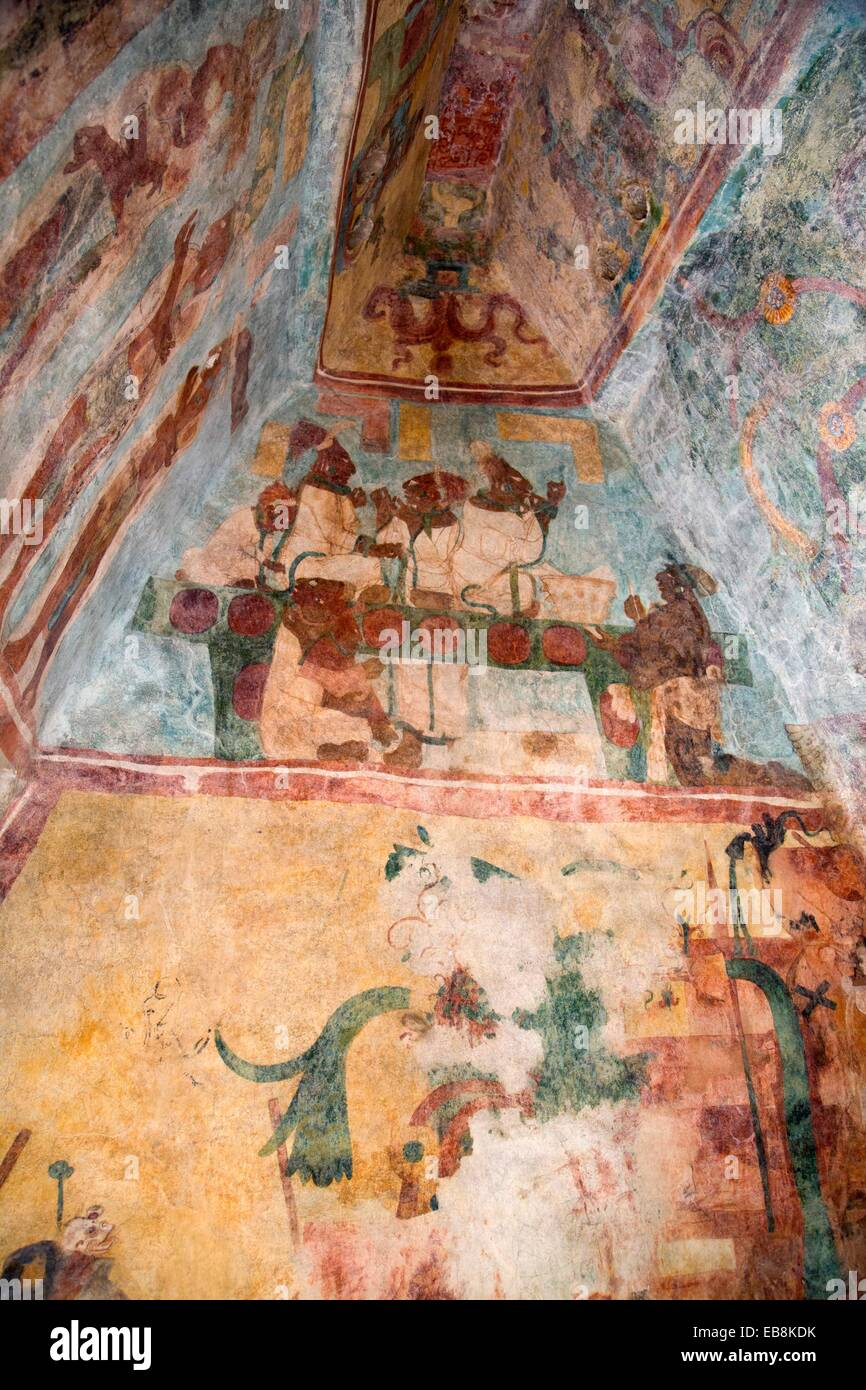 Mexico chiapas bonampak archaeological zone temple murals for Bonampak mural painting