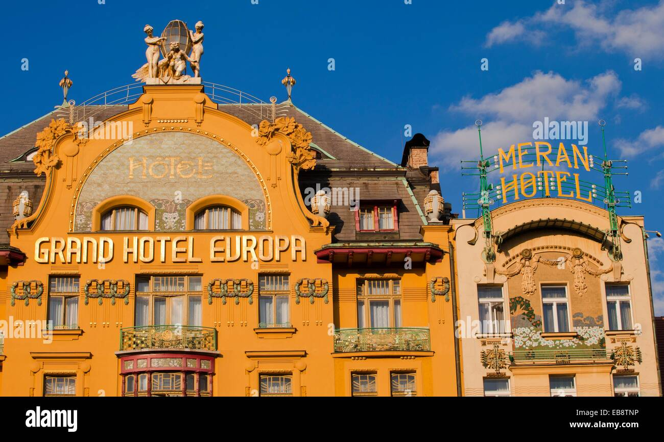 art nouveau statues on the gable of the grand hotel europa hotel stock photo royalty free image. Black Bedroom Furniture Sets. Home Design Ideas