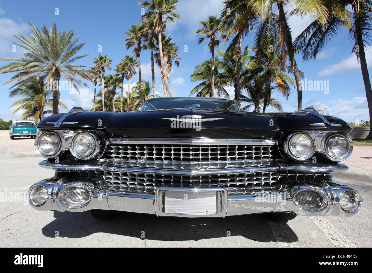 Exhibition of old cars in Miami Beach, Florida, USA Stock Photo ...