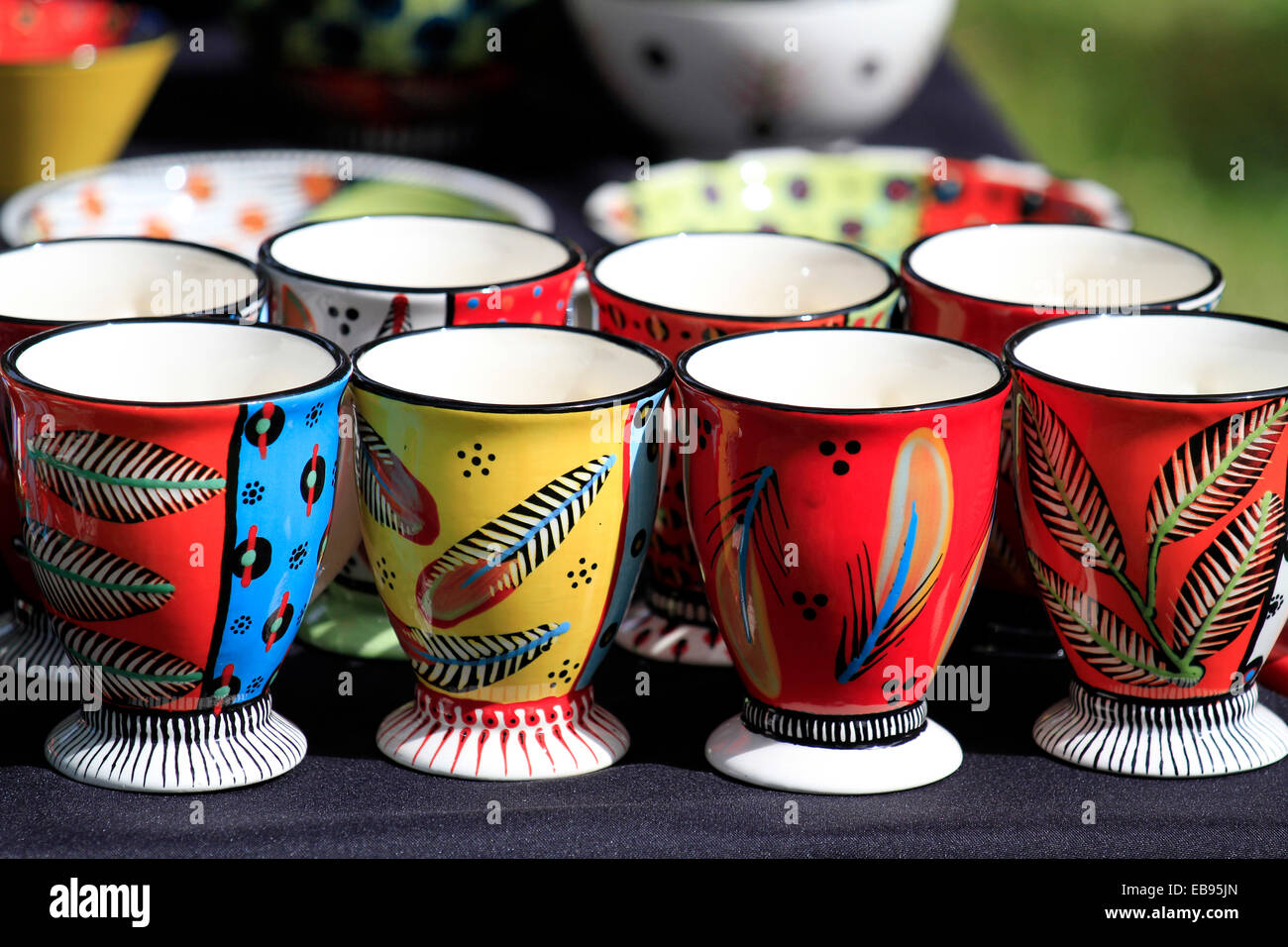Awesome Ceramic Mugs For Sale Part - 3: Brightly Painted Ceramic Mugs On Sale At A Stall At The Kirstenbosch Craft  Market Cape Town, South Africa.