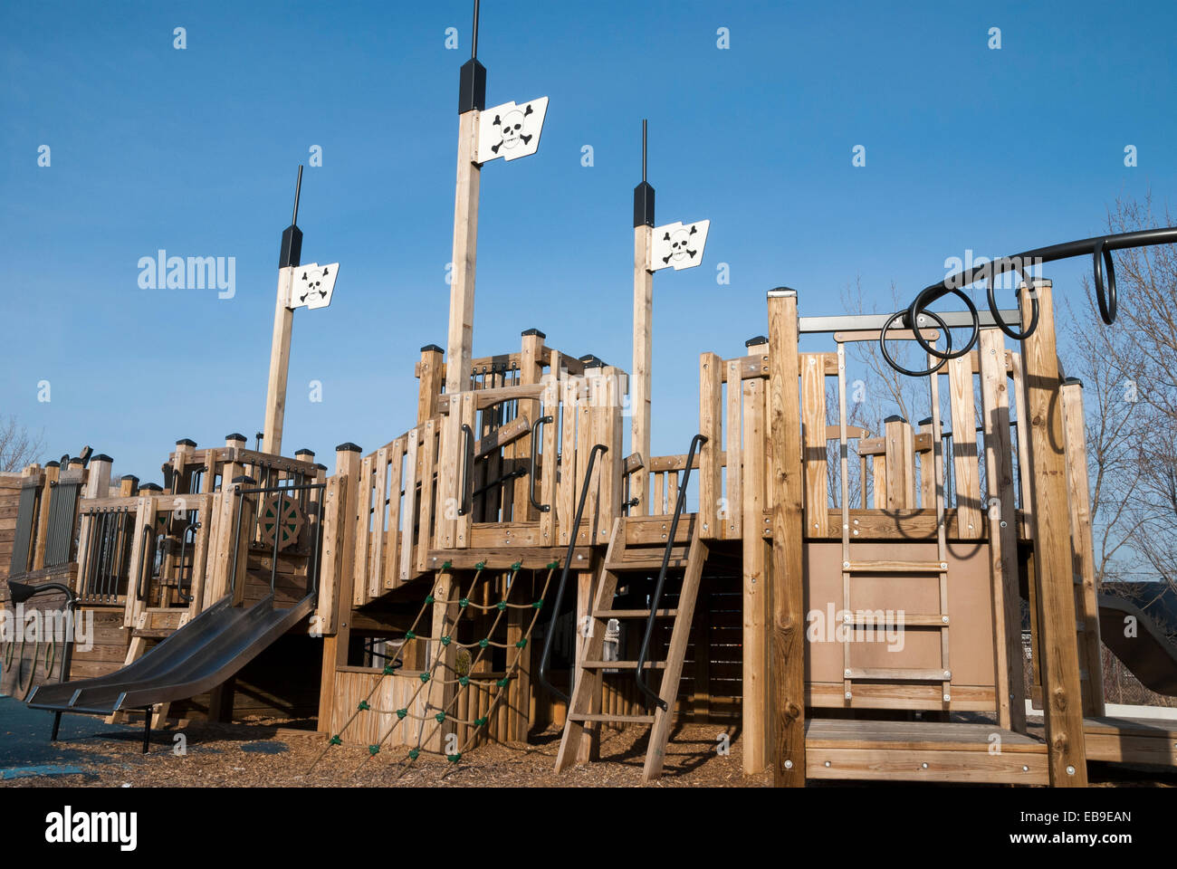 a children 39 s jungle gym in the shape of the deck of a