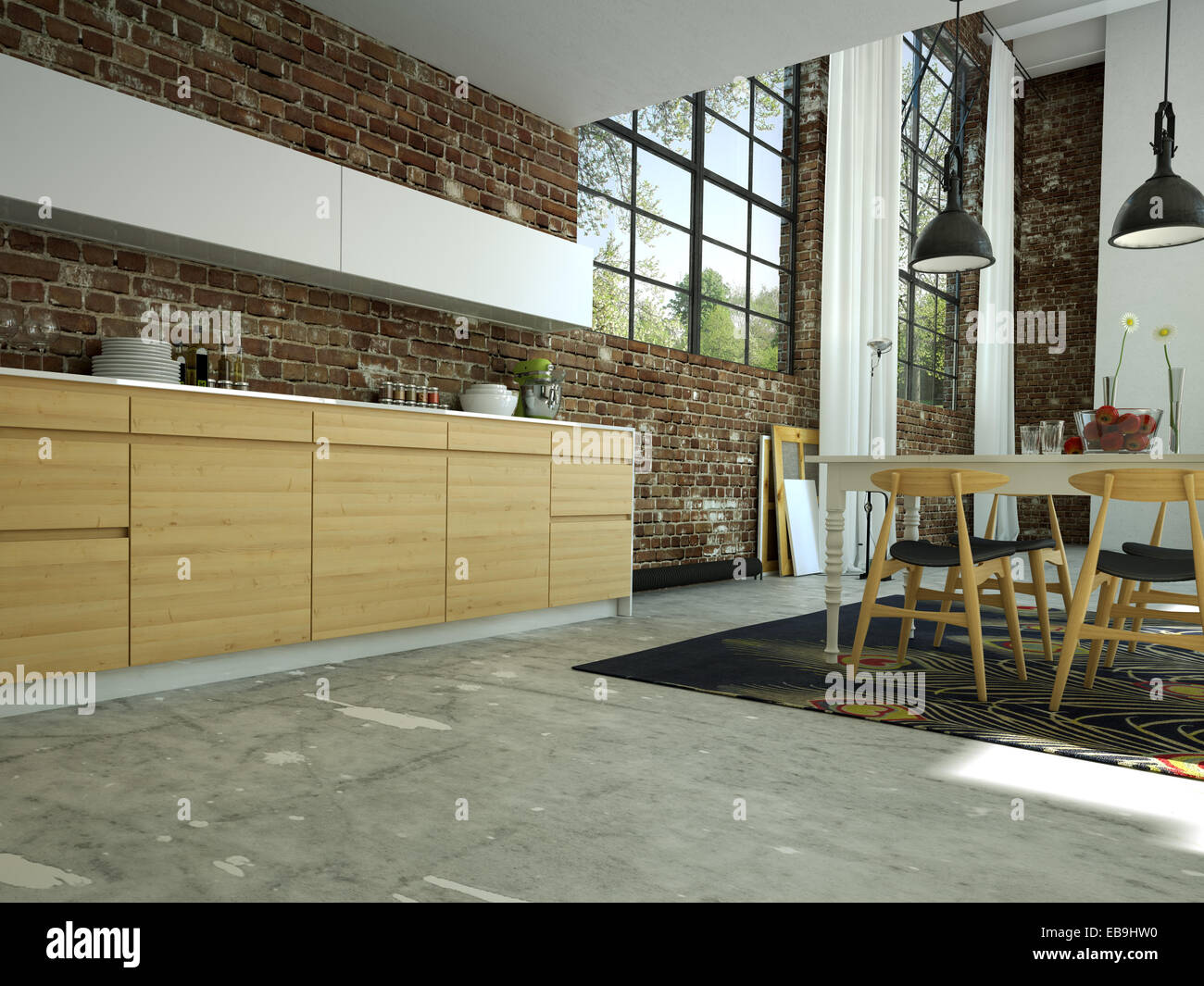 Loft Kitchen Loft Kitchen In Open Space 3d Rendering Stock Photo Royalty Free