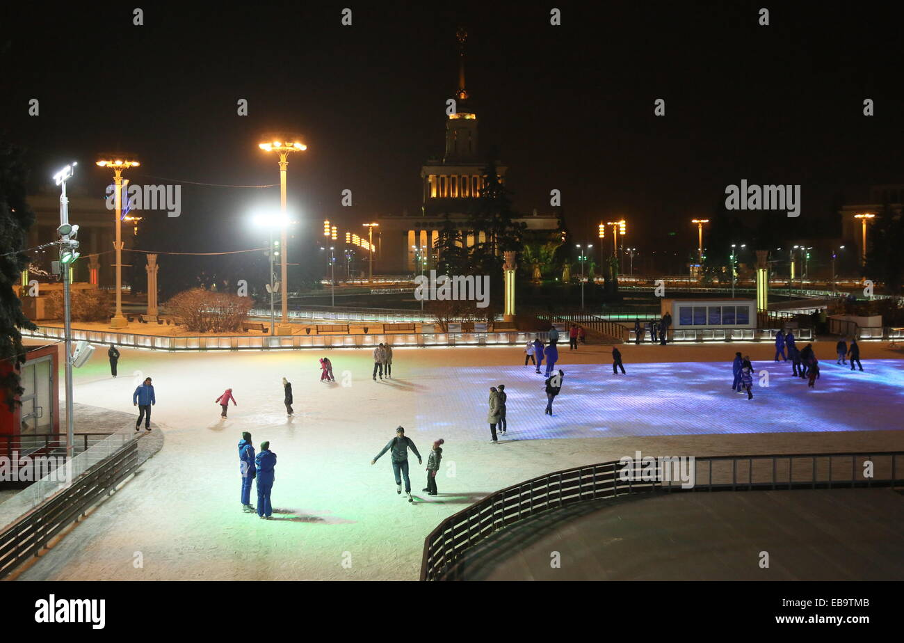 moscow russia 27th nov 2014 moscow residents skating at an