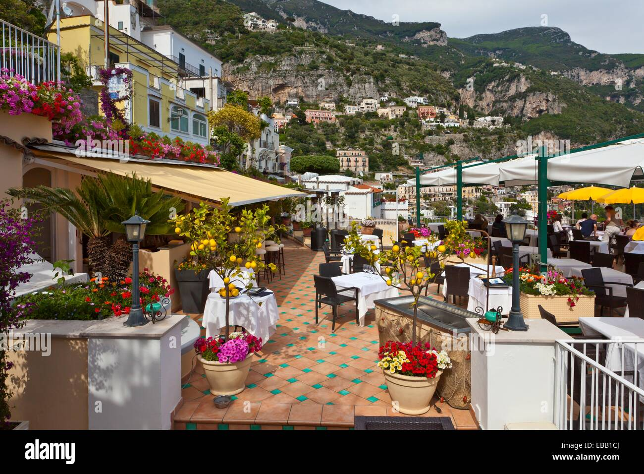 A restaurant in positano amalfi coast italy stock photo for Amalfi coast cuisine