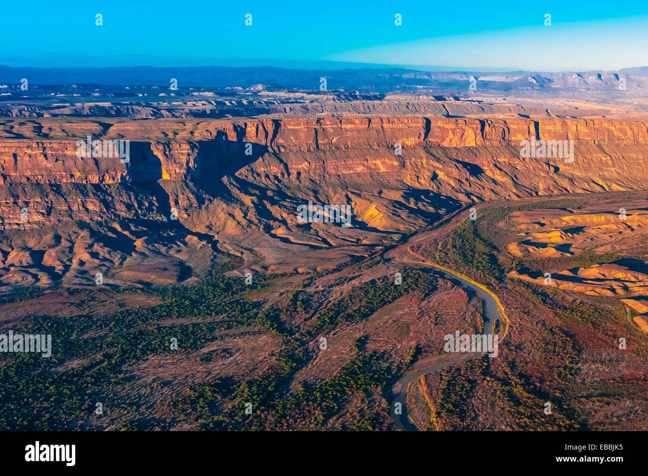 Aerial View From Big Bend National Park Texas USA Across The Rio - Texas national parks