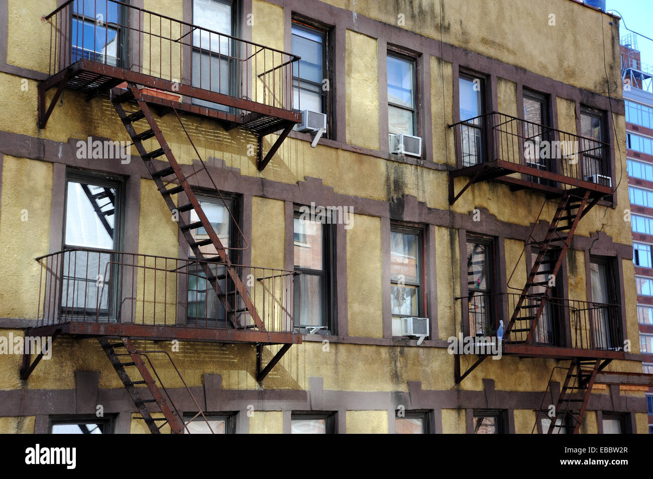 Manhattan new york usa a view of fire escapes on old for Floor plans manhattan apartment buildings