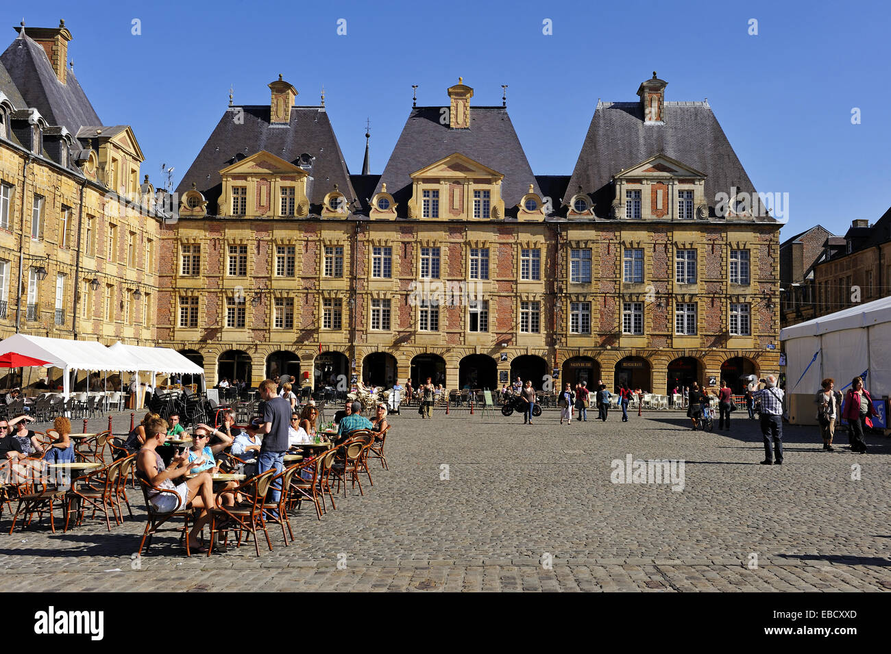 cafe terrace on place ducale charleville mezieres ardennes stock photo royalty free image. Black Bedroom Furniture Sets. Home Design Ideas