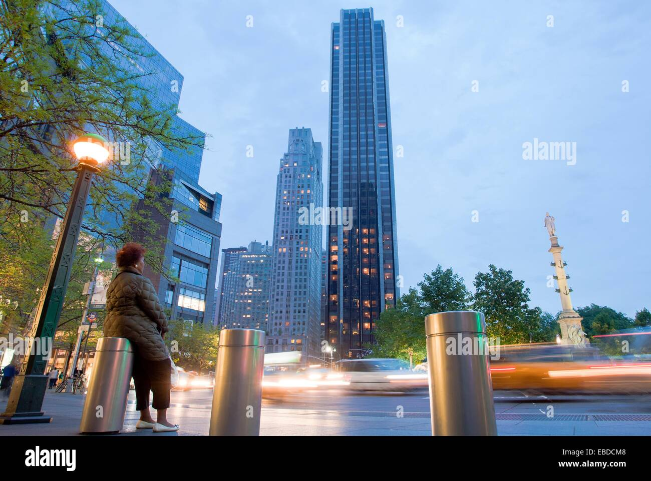 On background trump international hotel and tower columbus circle midtown manhattan new york city usa