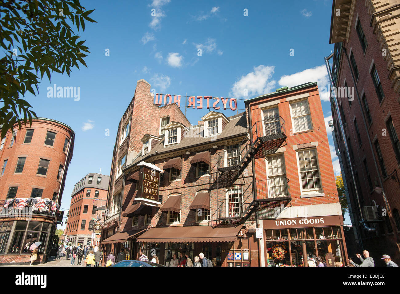 Boston Victorian architecture, famous Union Oyster House since 1829 the  oldest restaurant in USA located