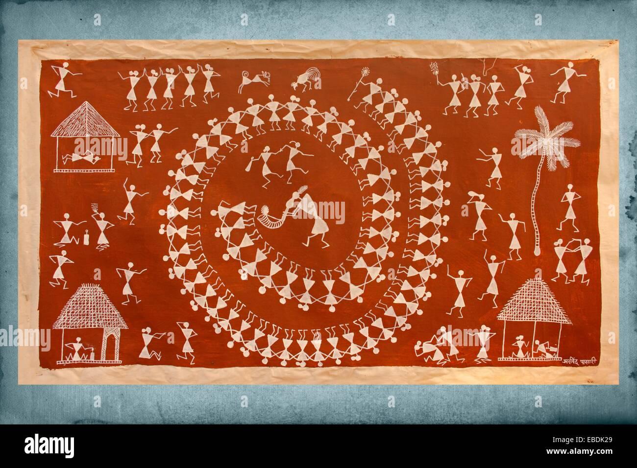 Warli wall painting handicraft maharashtra india stock photo warli wall painting handicraft maharashtra india thecheapjerseys Gallery