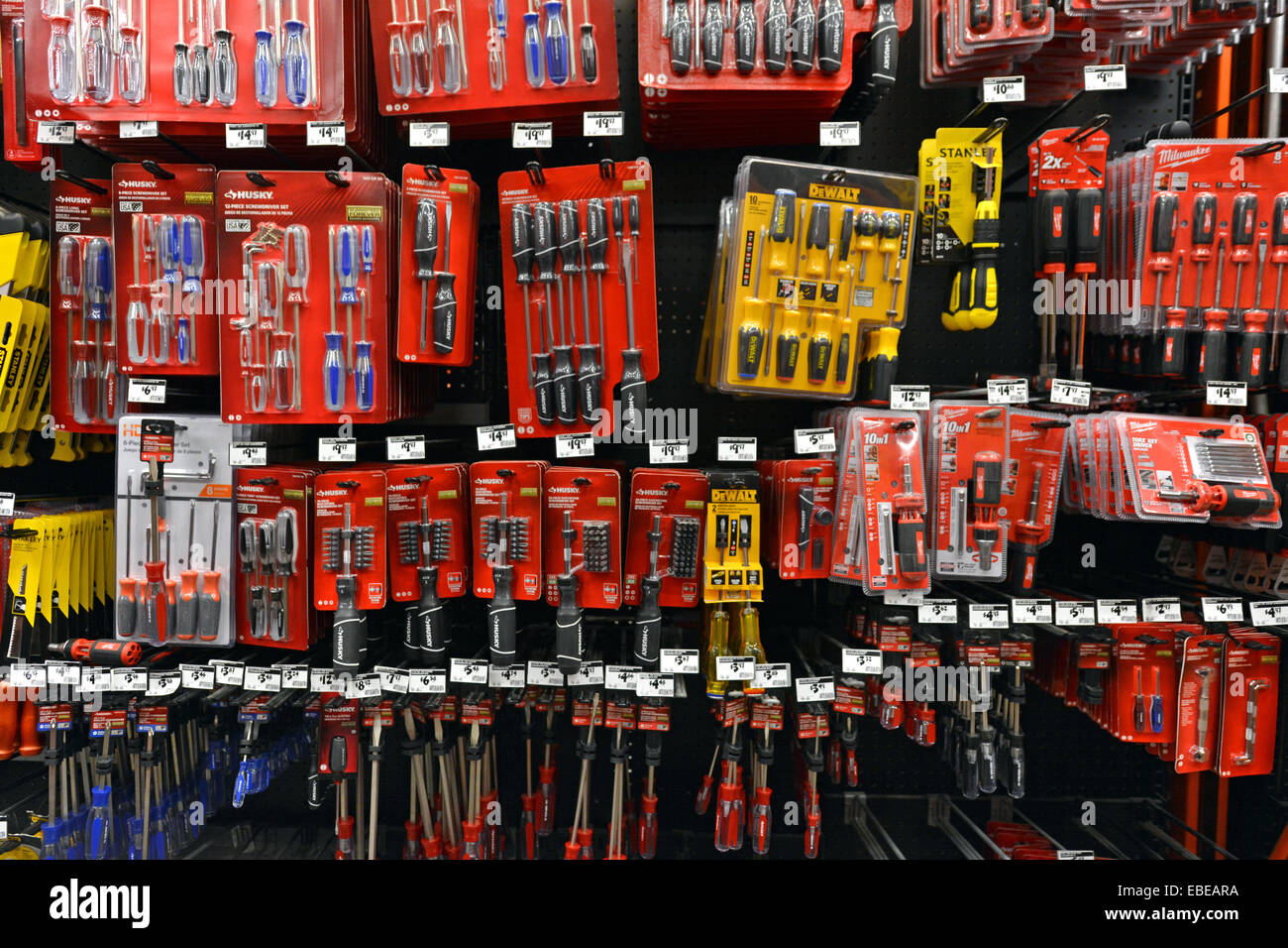 A display of small hand tools for sale at a Home Depot store in ...
