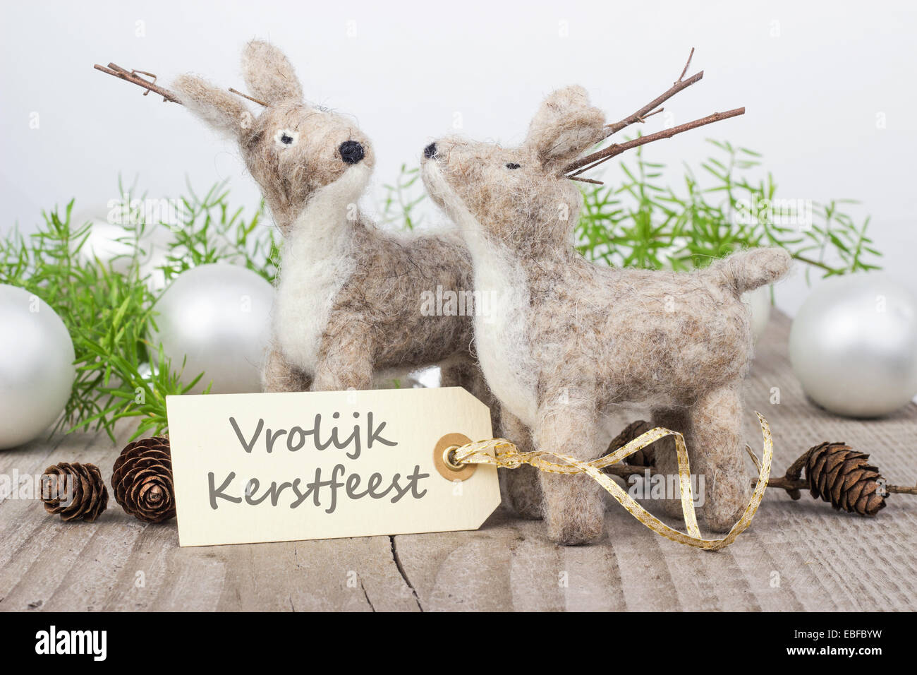 Dutch christmas card with two deer and text merry christmas stock dutch christmas card with two deer and text merry christmas kristyandbryce Choice Image