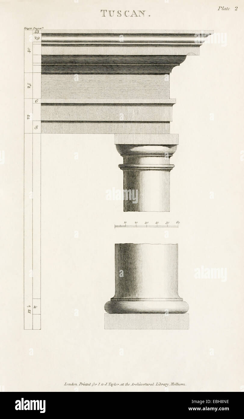 Tuscan Order Column From The Rudiments Of Ancient