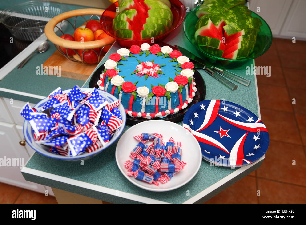 4th of july independence day cake and sweets in america flag stock