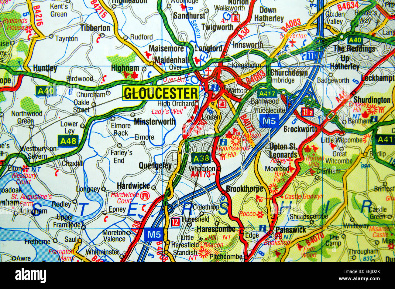 Road Map Of Gloucester England Stock Photo Royalty Free Image - Gloucester map