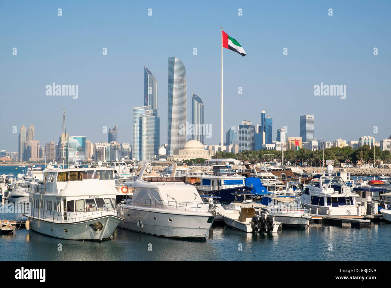 Skyline And Yacht Club Marina In Abu Dhabi United Arab Emirates Stock Photo Royalty Free Image