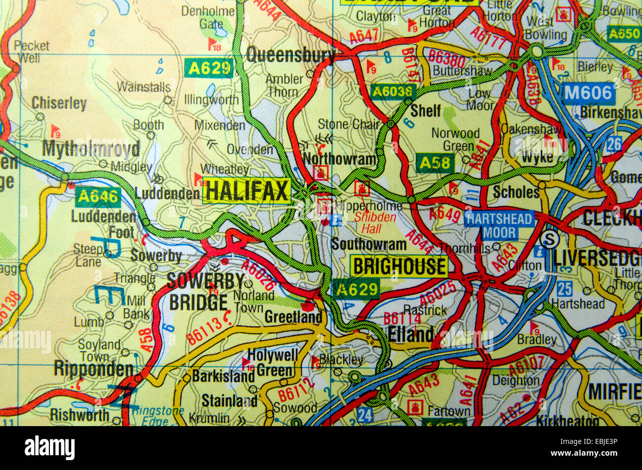 Worksheet. Road Map of Halifax area of West Yorkshire England Stock Photo