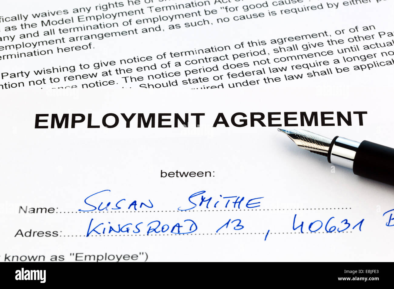 employment contract of an employee the employer in english stock photo employment contract of an employee the employer in english being filled in