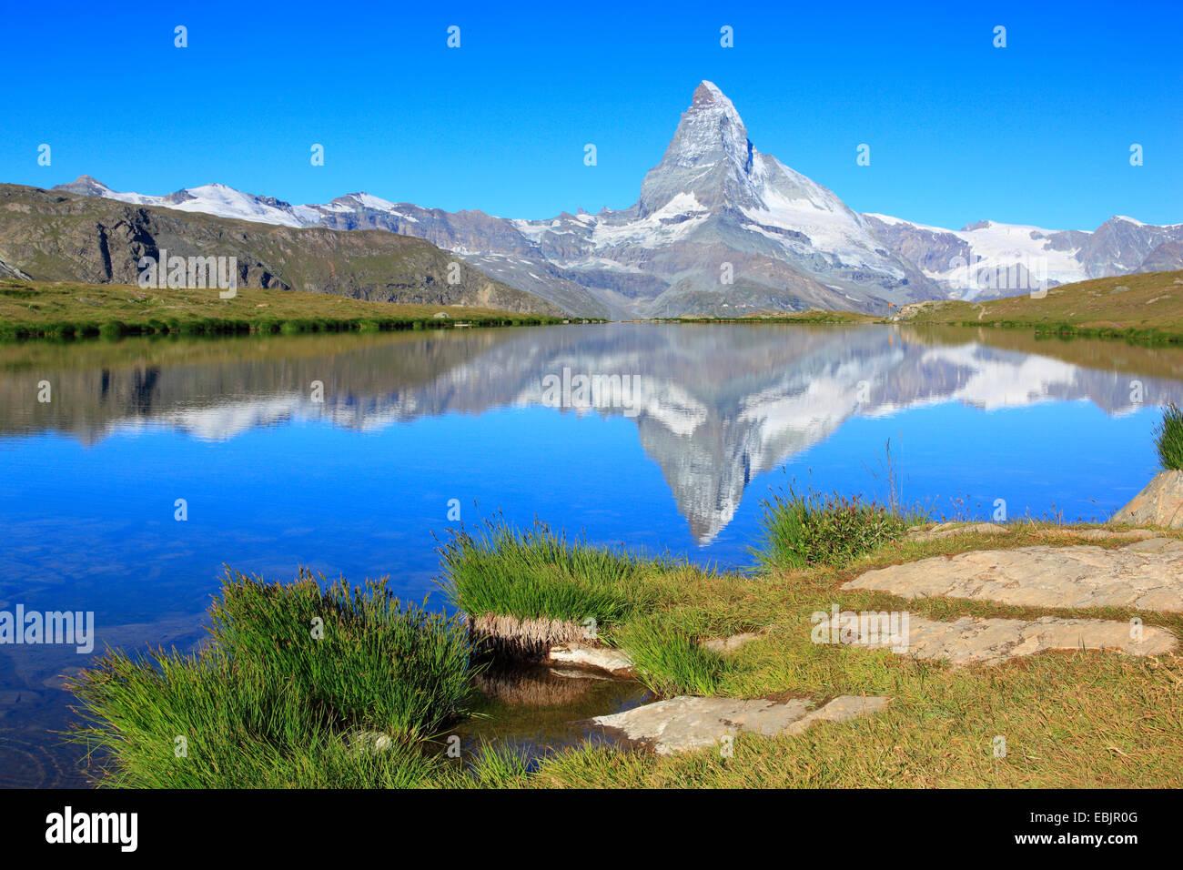 matterhorn mirroring in lake stellisee switzerland valais stock