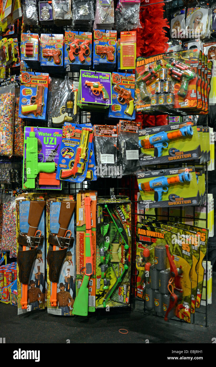 a display of toy guns for sale at a large store in greenwich village new york city called the halloween adventure - Halloween Adventure New York
