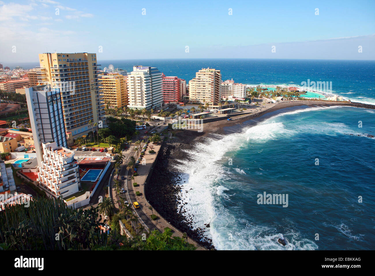 View from la paz to puerto de la cruz and playa martianez lago stock photo royalty free image - Playa puerto de la cruz tenerife ...