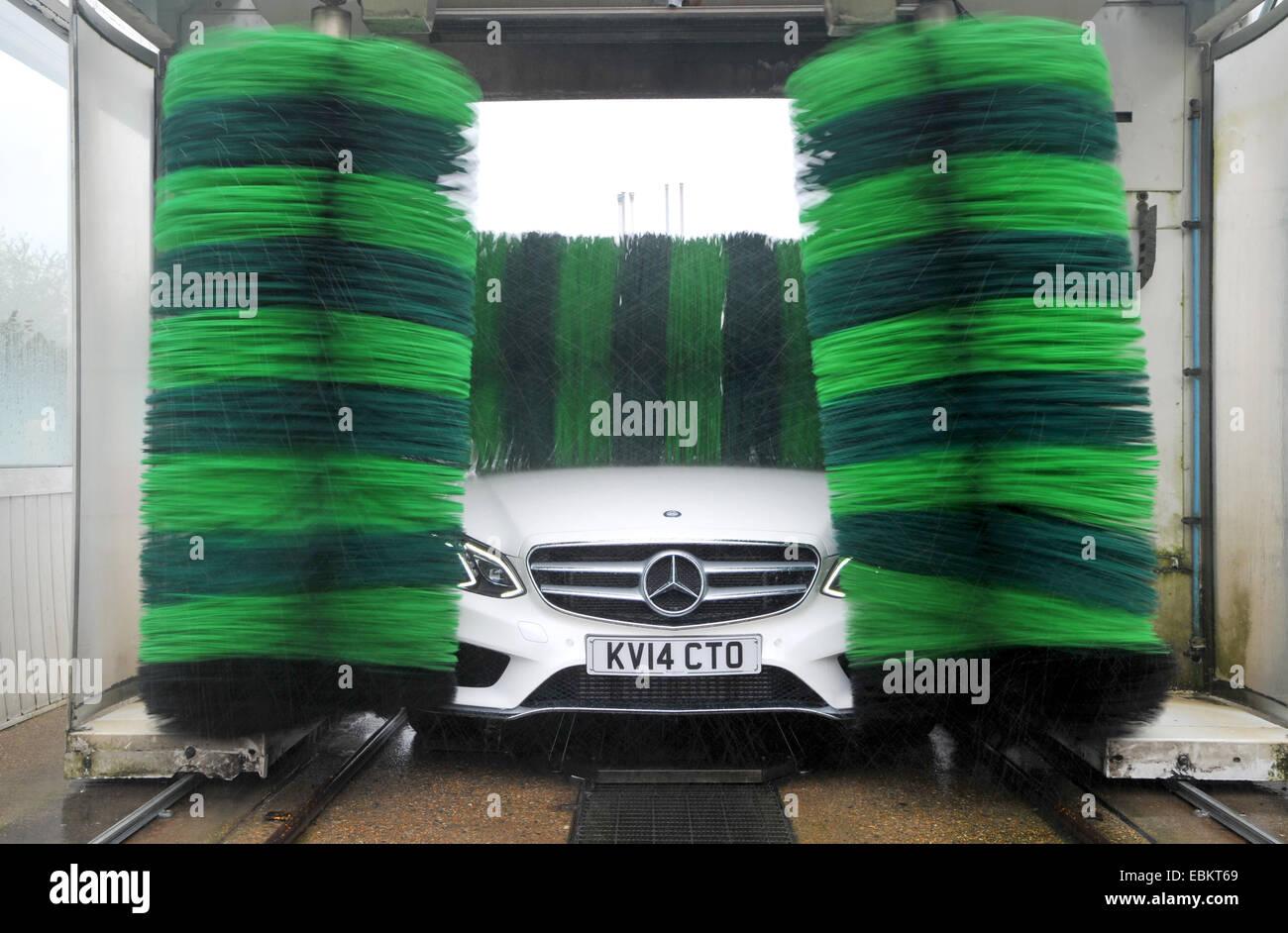 Mercedes e class car going through a car wash stock photo for Mercedes benz car wash free