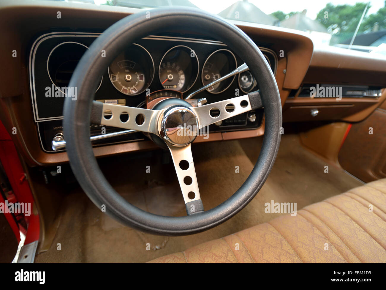 ford gran torino starsky and hutch replica car steering wheel stock photo royalty free image. Black Bedroom Furniture Sets. Home Design Ideas