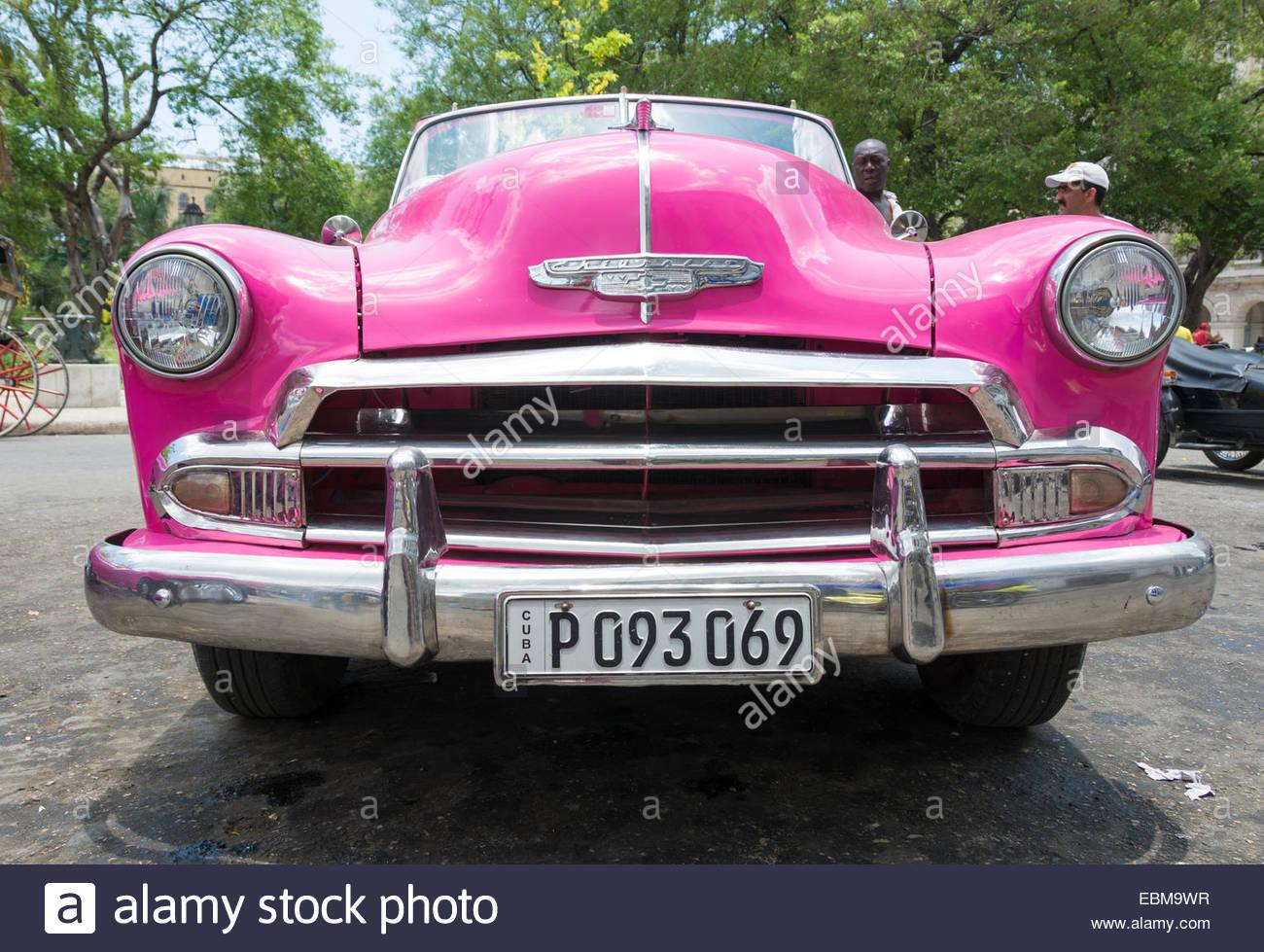 Beautiful old American cars running in Cuban roads, Cuba has ...
