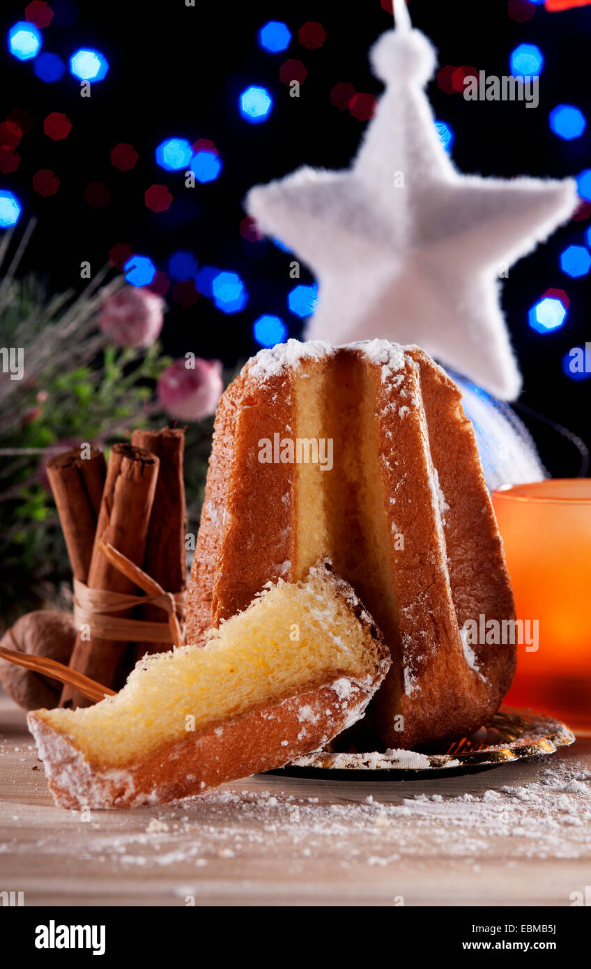 Christmas decorations and traditional Italian cakes with