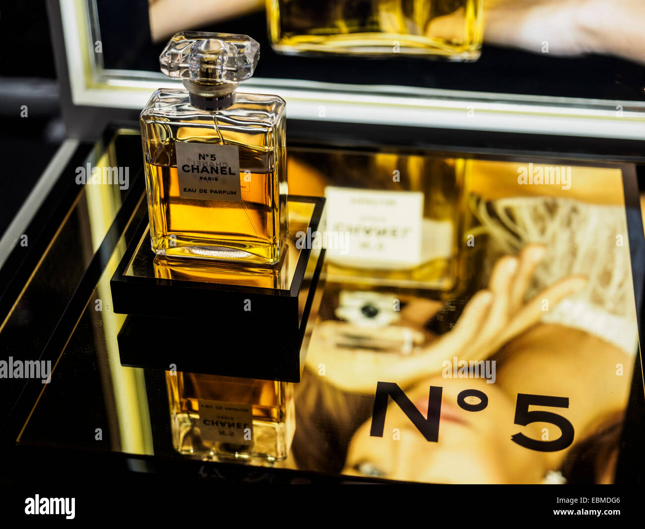 chanel number 5. chanel no 5 perfume bottle - stock image number