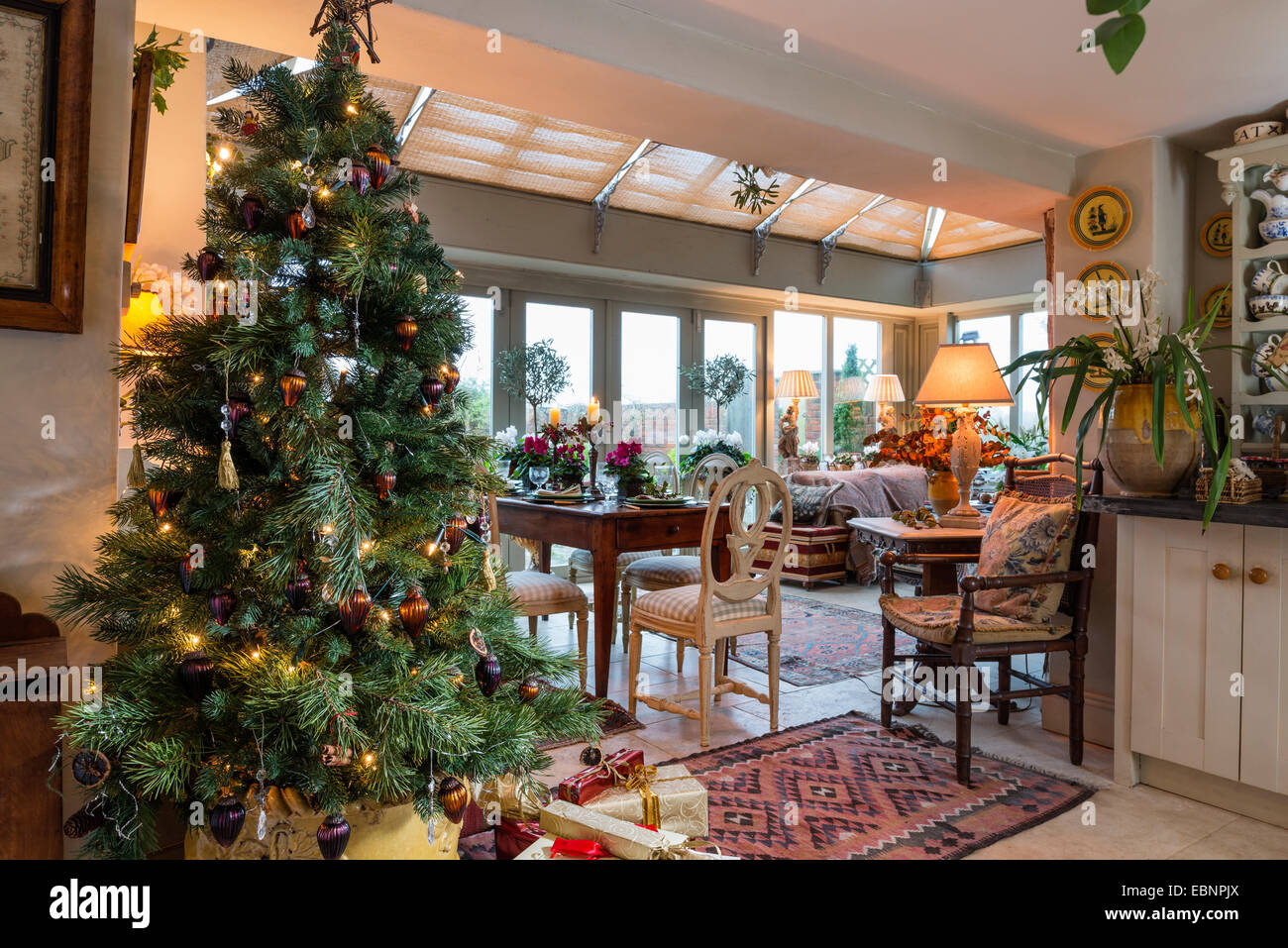 Decorated Christmas Tree With Dining Table And Orangery In Background Part 43