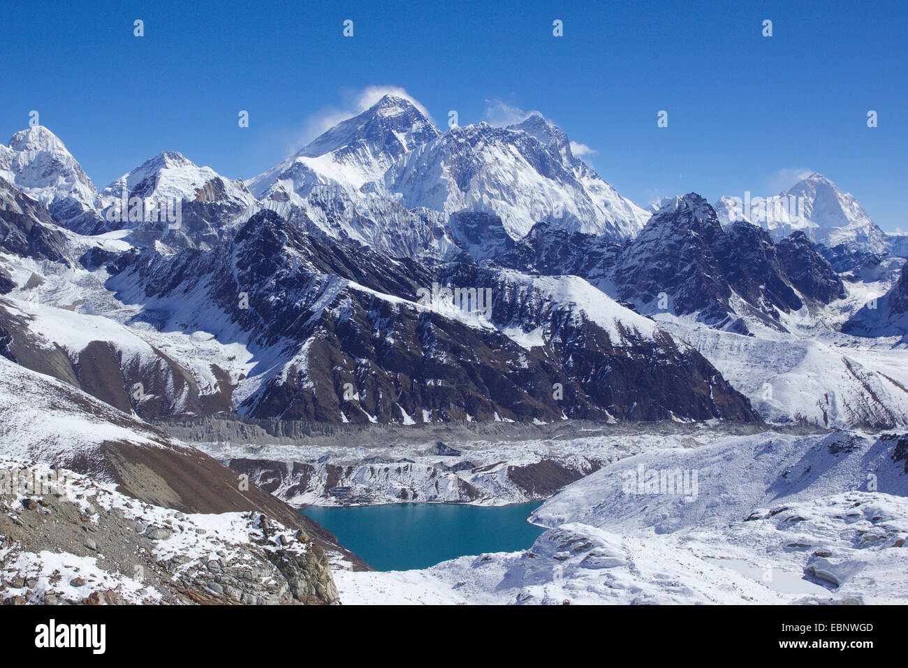 Mount everest nuptse lhotse and makalu in front lake of for Lake front view