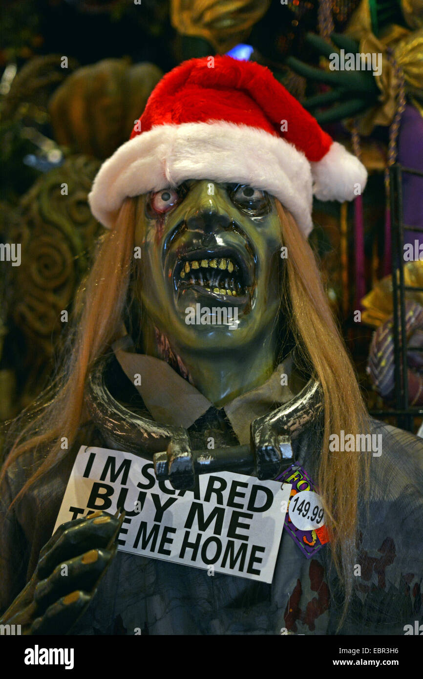 a scary statue with a santa hat for sale at a costume store in greenwich village new york city called the halloween adventure - Halloween Adventure New York