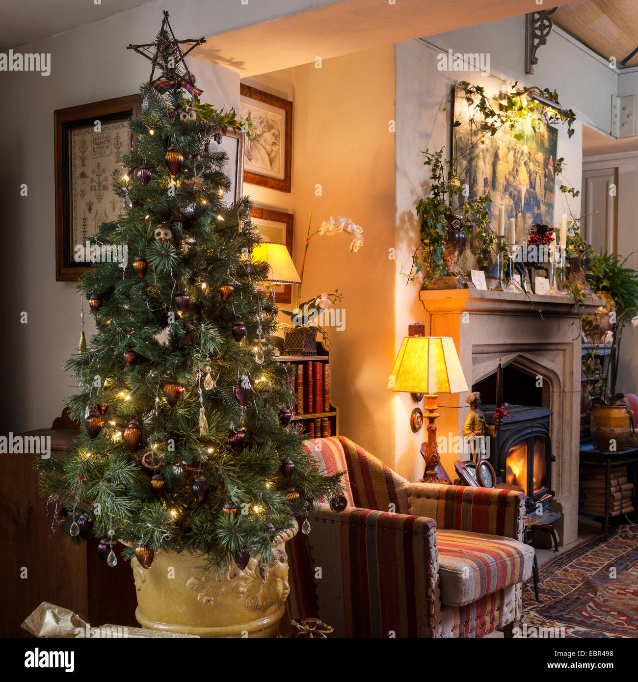Christmas Tree In Living Room christmas tree in sitting room with kilim style upholstered