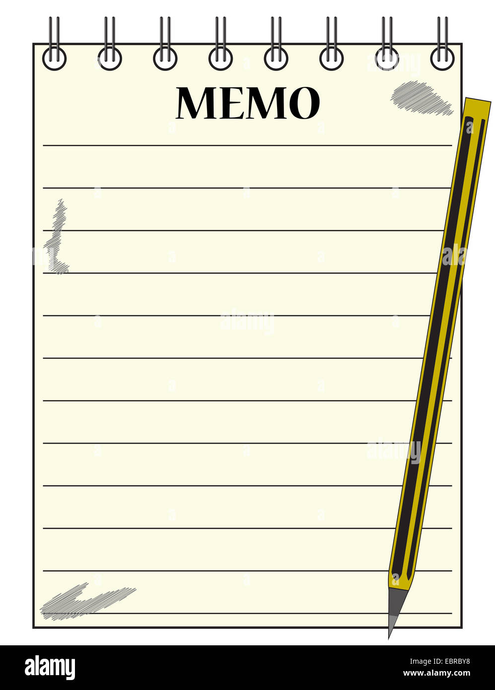 a lined memo blank notepad template or background a pencil a lined memo blank notepad template or background a pencil isolated on a white background