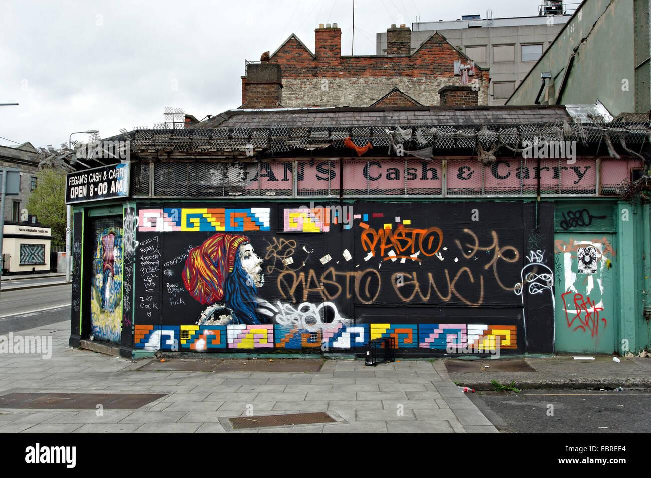 Graffiti wall dublin - Stock Photo Wall Graffiti On A Corner Shop Dublin Republic Of Ireland Europe