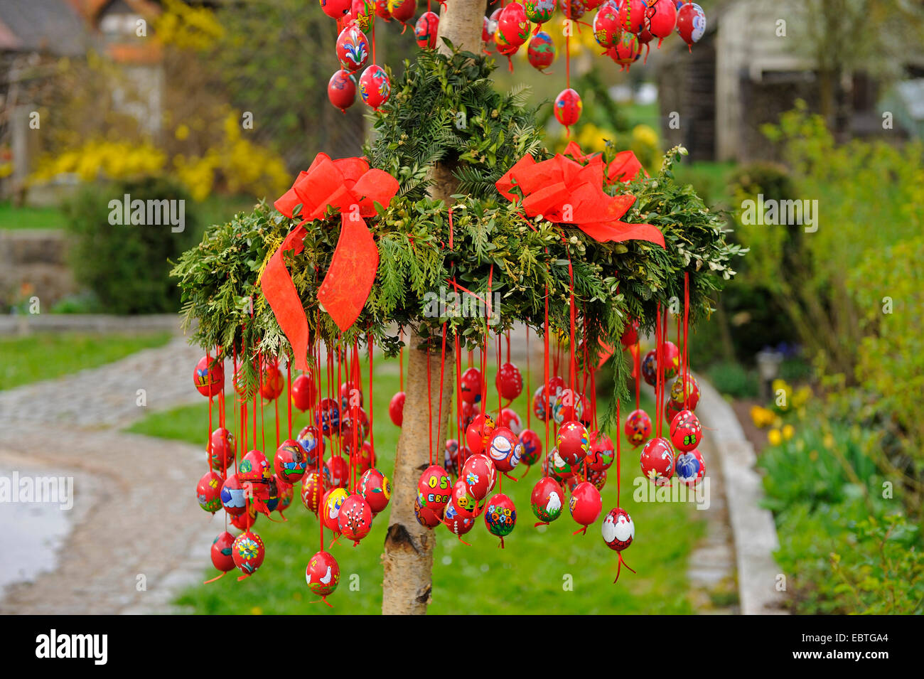 flower arrangement in a park decorated with Easter eggs, Germany ...