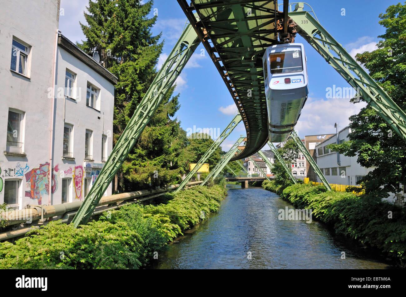 wuppertaler schwebebahn wuppertal floating tram over wupper river stock photo royalty free. Black Bedroom Furniture Sets. Home Design Ideas