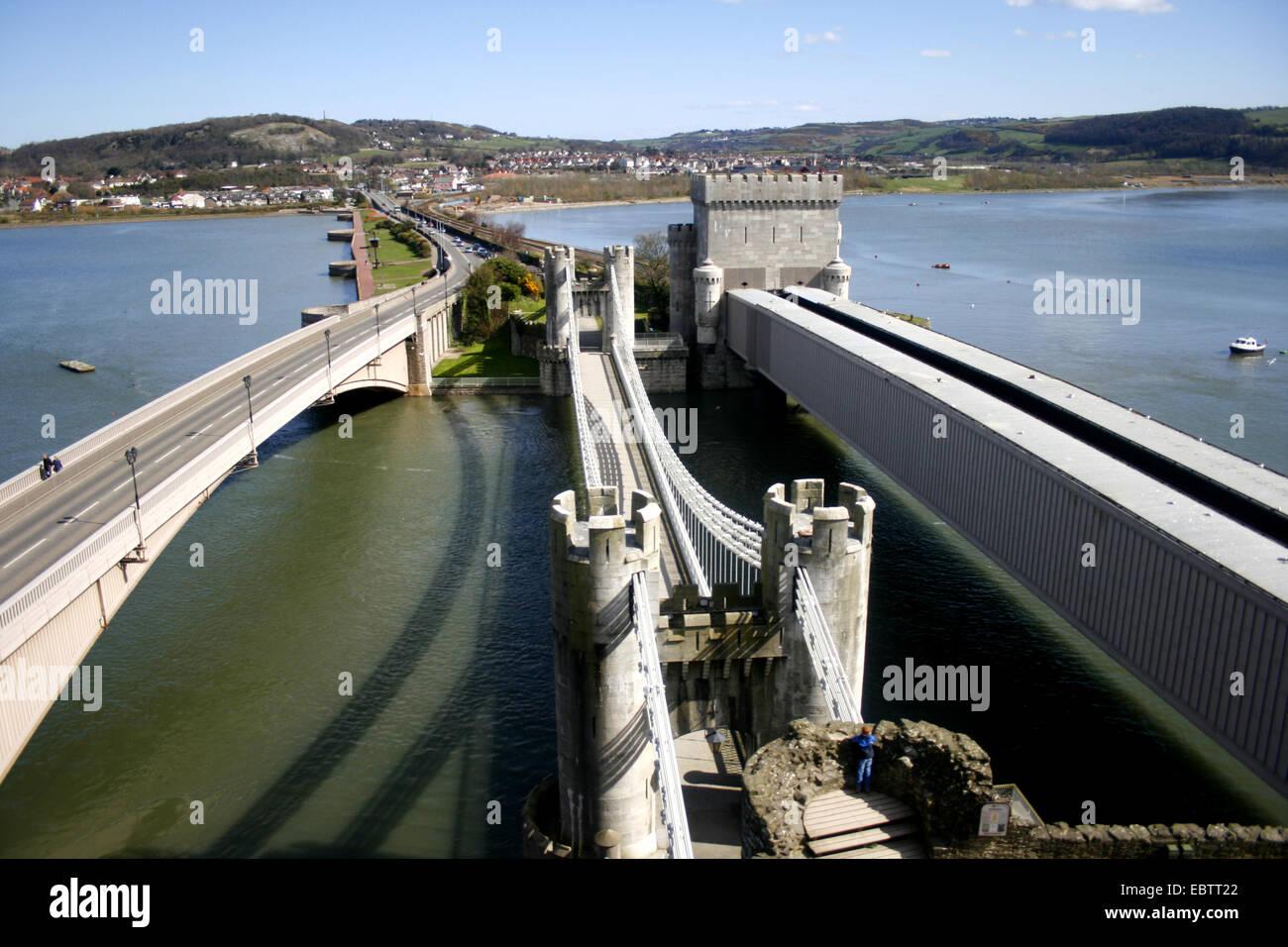 Conwy United Kingdom  City new picture : ... three bridges at the entrance of Conwy, United Kingdom, Wales, Gwynedd
