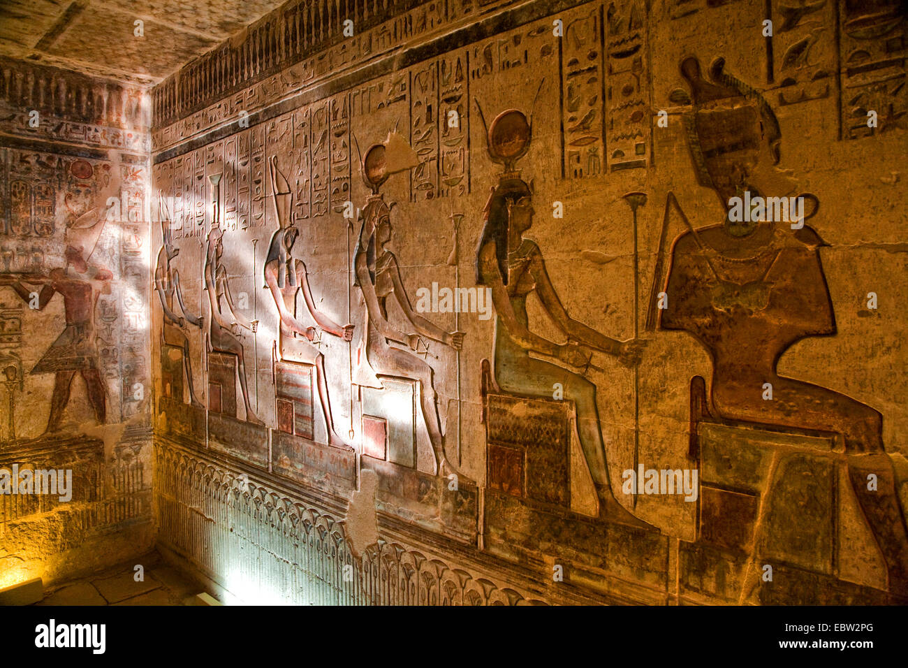 Mural paintings in hathor temple of dendera temple complex for Egypt mural painting