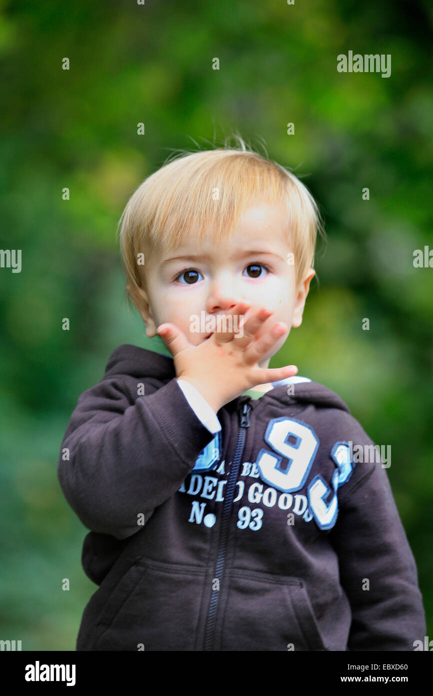 Little boy making a kiss on the hand stock photo 76183800 alamy little boy making a kiss on the hand altavistaventures Images