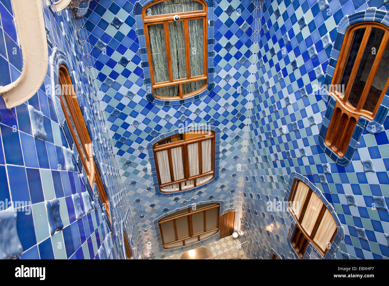 ... Casa Batllo By Antoni Gaudi In Barcelona, Catalonia, Spain. Window And  Blue Tiled