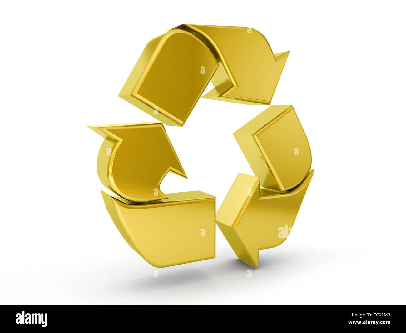 3d golden recycle symbol stock photos 3d golden recycle symbol gold recycle symbol on a white background stock image buycottarizona Choice Image