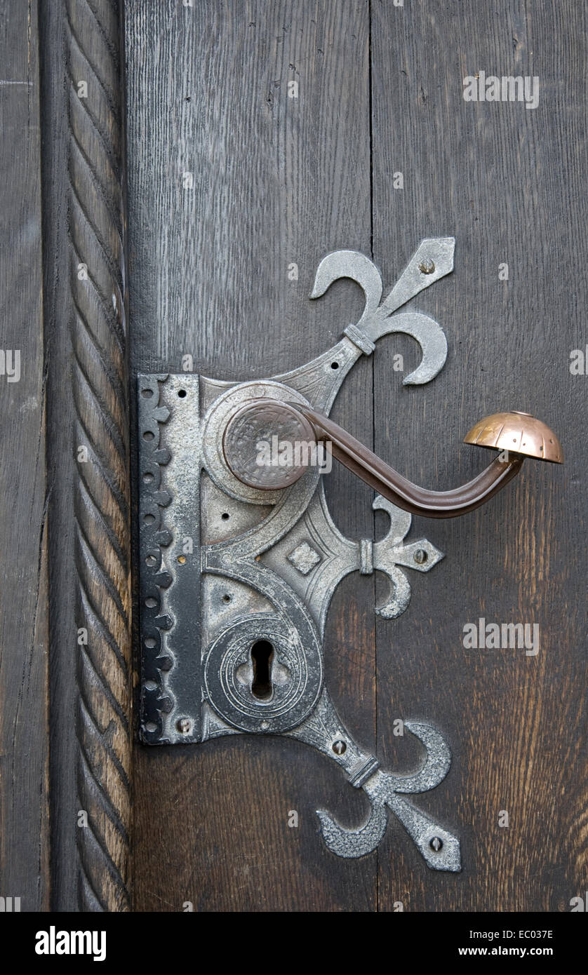 Old door handle from the Cathedral at Aarhus, Denmark Stock Photo ...