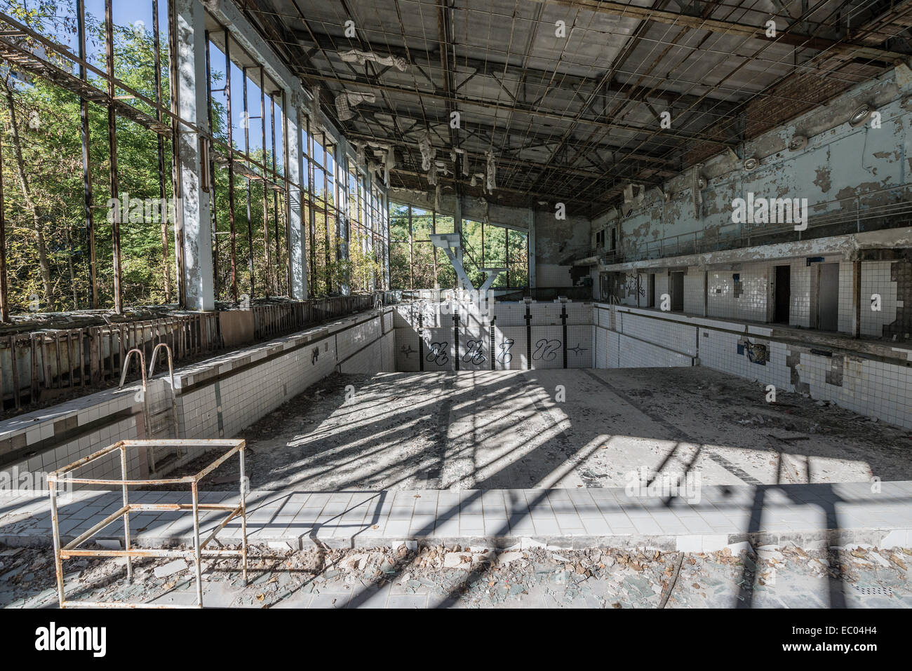 stock photo inside the lazurnyj or lazurny eng azure swimming pool in pripyat abandoned city chernobyl exclusion zone ukraine - Inside Swimming Pool