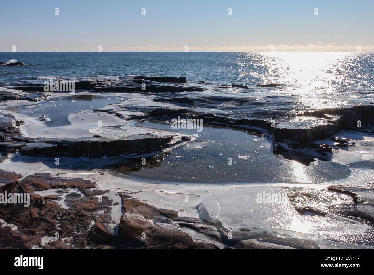 Grand Marais (MN) United States  city images : Stock Photo Grand Marais, Minnesota, United States. Ice on the rocks ...