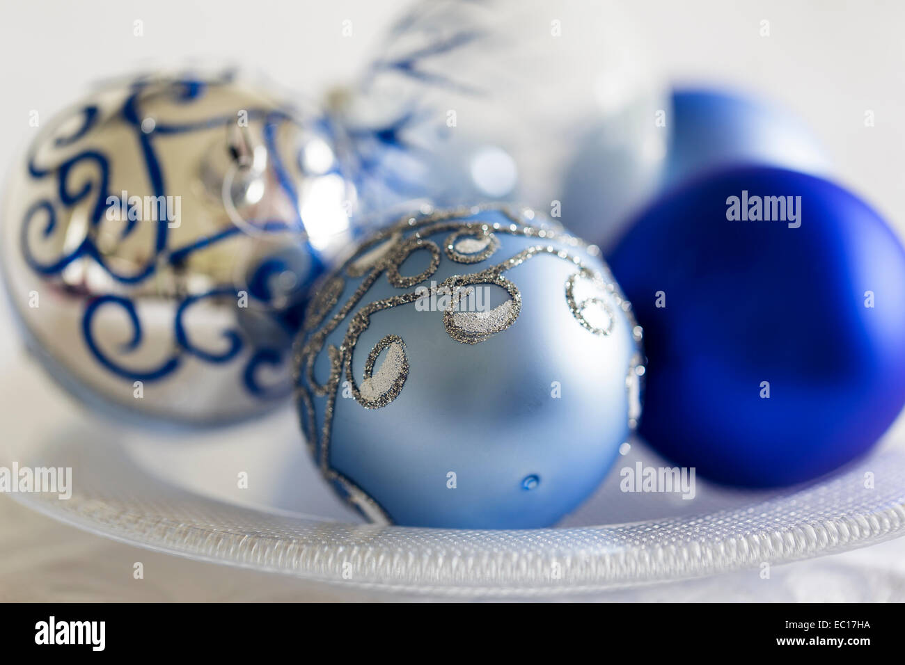 Blue Silver And White Christmas Decorations Stock Photo