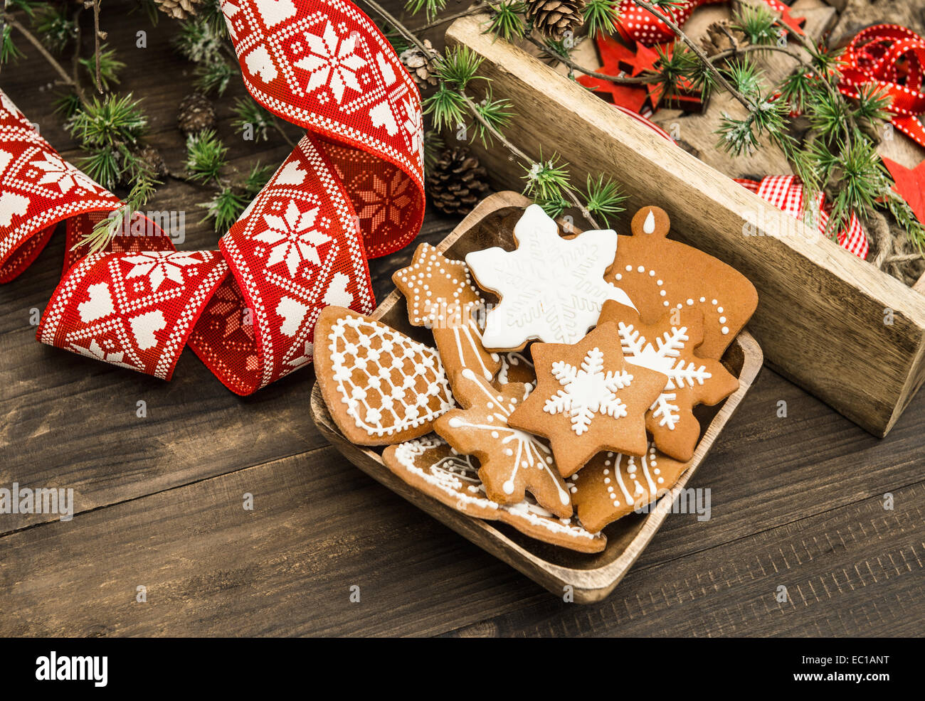 Vintage looking christmas ornaments - Stock Photo Christmas Ornaments And Gingerbread Cookies Vintage Style Home Decoration