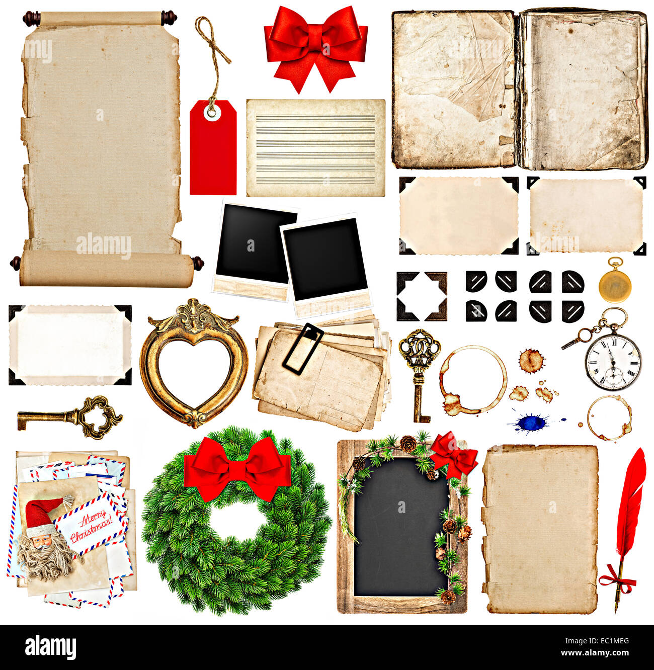 Scrapbook elements for christmas holidays greetings old book scrapbook elements for christmas holidays greetings old book pages paper scroll wreath blackboard corner and photo frames kristyandbryce Image collections