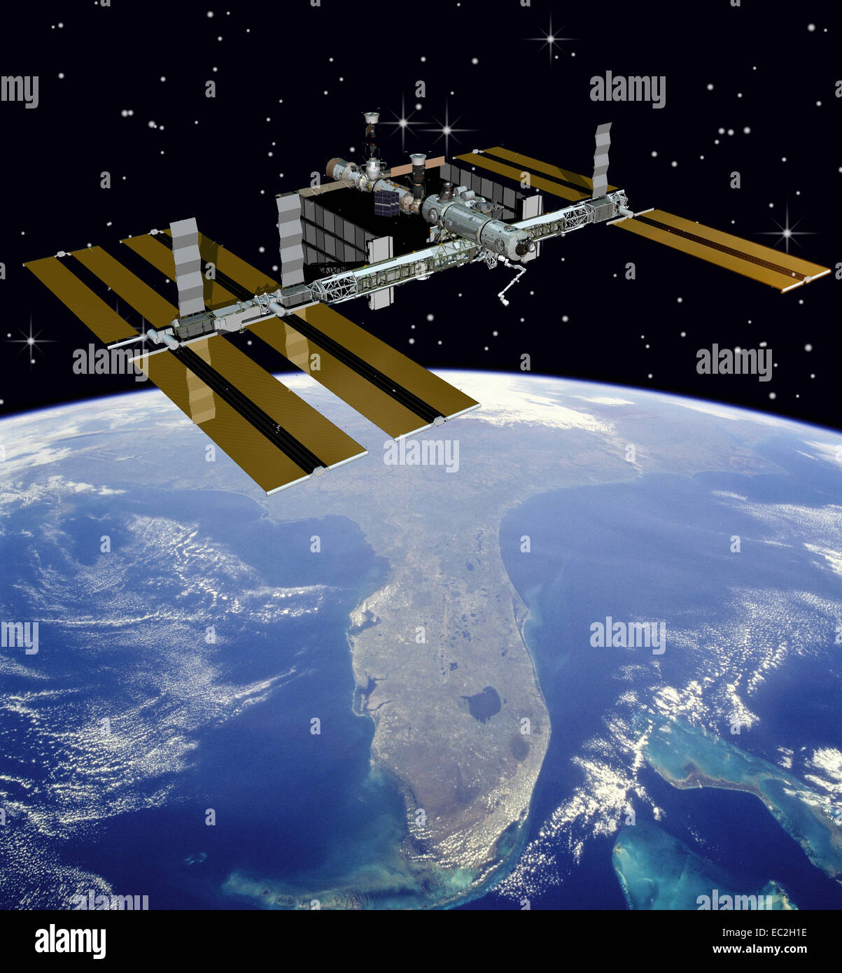 Nasa image of international space station above florida for Space station florida